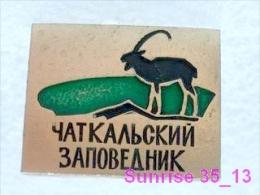 Animals: Tur - Mountain Goat - Capra Ibex - National Park Chatcalskiy / Old Soviet Badge_035_an2234 - Animals
