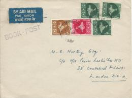 1960's Five (5) Stamps On Cover Stamped Book Post India To London UK - India