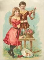 Chromos Réf. C663. Enfants, Fleurs, Panier, Robe - Trade Cards