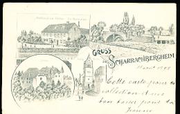 67 SCHARRACHBERGHEIM / Schloss, Kirche, Gasthaus Zur Station Ch. Musculus / CACHET TRAIN MOLSHEIM SAVERNE 1898 - Autres Communes