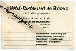 - Carte Hôtel-Restaurant Du Béarn, LESTELLE-BÉTHARRAM, ARRICAUD, Propriétaire, Très Bon état, Scans. - Mappe