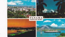 Puente Del Mundo, Night Views, Aerial And Ocean Liner Steamer, Bridge,  40-60s - Panama