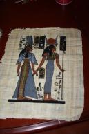 AUTHENTIQUE PAPYRUS ÉGYPTIEN PAPYRUS EGYPTIEN NEFERTITIE 42/34 Cm EN TRÈS BONNE ÉTAT - Art Oriental