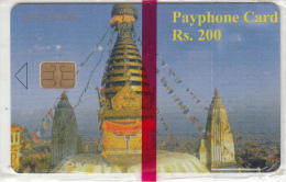 NEPAL -  Temple(CN At Top Left), Nepal Telecom Telecard, First Issue RS 200, Mint - Nepal