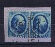 Netherlands 1864  NVPH Nr 4 Used Strip Of 2, Cancel Franco In Box - Periode 1852-1890 (Willem III)