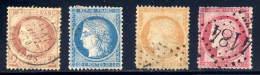 France  51,57,59,63  Used,    Sound - 1863-1870 Napoleon III With Laurels