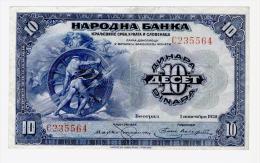 Bankonote Kingdom Of Serbs, Croats And Slovenes 10 Dinara 1920( P-21), Printed In USA - Yugoslavia