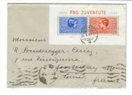 Suisse // Pro-Juventute /  Lettre  Avec Le Bloc-feuillet De 1937 Pour La France - Pro Juventute