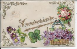 CARTE EN CELLULOID - Fleurs - Anniversaire - Fantaisies