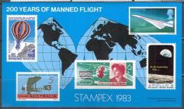 0039 Space Raumfahrt Aviation STAMPEX 1983 Great Britain Sheet Unpostal MNH ** - Space