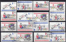 Gewichtheben Hochsprung Sommer-Olympia 1984 CSR 2782/5,ZD+4Block O 14€ Ruder Radsport Olympic Se-tenant Tschechoslowakei - Czechoslovakia