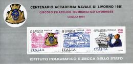 LIVORNO CENTENARIO ACCADEMIA NAVALE 1981 FOGLIETTO IPZS MNH/** - Cinderellas