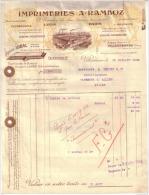 RHÔNE - LYON - IMPRIMERIES - LITHOGRAPHIE - CHROMOS - RAMBOZ FRERES - FACTURE + MANDAT - 1922 - Imprimerie & Papeterie