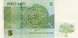 LATVIA P. 53b 5 L 2007 UNC - Latvia