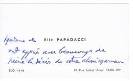 ELIE PAPADACCI 19 RUE JOBBE DUVAL PARIS - Tarjetas De Visita
