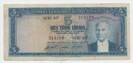 """Turkey 5 Lira L.1930 (1952) """"aVF"""" CRISP Banknote P 154 - Turkije"""