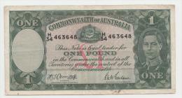 AUSTRALIA 1 Pound 1942 VF+ P 26b  26 B - WWII Issues