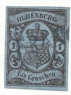 D-Old001 / Oldenburg - / Mi.Nr. 6, Allseitig Vollrandig. Einzeiler-Franco-Stempel In Blau - Oldenburg