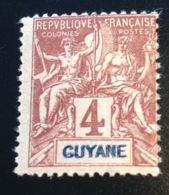 Guyane Francaise 1892, Yvert 32a, 4c Type GROUPE Variété DOUBLE LÉGENDE, Neuf. R! Tirage 150 Ex. TB