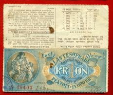 1933 ESTONIA LOTTERY TICKET 1 KROON  W109 - Lotterielose