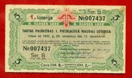 1942 LATVIA LETTLAND GERMANY LOTTERY TICKET 2 RM.  W69 - Lotterielose