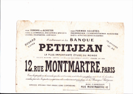 BUVARD PETIT JEAN - RUE MONTMARTRE - PARIS - Bank & Insurance
