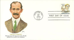 USA. Orville Wright, Pionnier De L'aviation.  FDC  Dayton, Ohio 1978 - Airplanes
