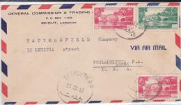 LIBAN - 1952 - ENVELOPPE Par AVION De BEYROUTH Pour PHILADELPHIA (USA) - Liban