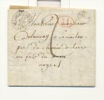 Maine Et Loire , St Lambert Du Lattay , Cachet Type 15 Du 17 Novembre 1845 , Cachet ID Rouge Et OR Origine Rurale - 1801-1848: Voorlopers XIX