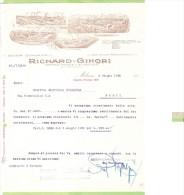 1926- FATTURA PUBBLICITARIA-MILANO- RICHARD GINORI-SOCIETA 'CERAMICA - Frankrijk