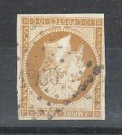 Empire N° 13 A C, BISTRE BRUN, Obl Pc 1869 : MARCILLAT D´ ALLIER,Indice 9 +VARIETE Filet Interrompu,PERLE,TB,cote + 60 E - 1853-1860 Napoleone III