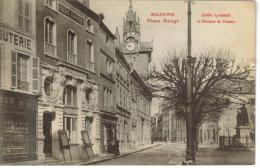 CPA BEAUNE (Côte D'Or) - Place Monge : Crédit Lyonnais Et Banque De France - Beaune