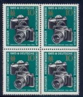 Germany DDR 1965 Leipzig Fair: Cameras 10 Pf. Block Of Four MNH - Fotografia