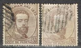 Dos Sellos De 50 Cts Antillas Colonia Española Amadeo, Variedad Color, Num 26 Y 26a º - Kuba (1874-1898)