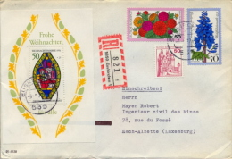 Germany BRD 1977 Registered Cover To Luxembourg With Souvenir Sheet Christmas + Berlin Stamp Flower Larkspur Surtaxed - BRD
