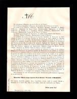 Faire-part Décès M. Marie Ange Ignace Paul Xavier Vicomte O´MAHONY, Bourgoin, 1884 - Esquela