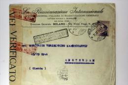 Italy Cover Milano Amsterdam, 1918, Censura, Censura Militaire Nice Cancels, - 1900-44 Vittorio Emanuele III