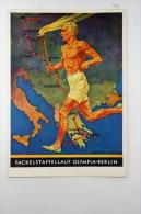 Deutsche Reich Postkarte Olypische Spiele 1936 Fackelstaffellauf Olympia Berlin