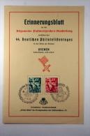 Deutsche Reich Postkarte Erinnerungsblatt 44. Deutschen Philatelistentages Bremen 1938