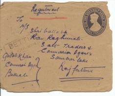 KGV1 Registered Letter 1 1/2 Annas Embossed  + Stamps Both Sides Shown Roughly Opened - Covers