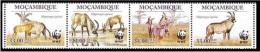 Mozambique - Antelope, WWF, Set Of 4 Stamps, Strip, MNH - W.W.F.