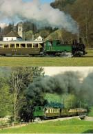 WILDERSWIL (SUISSE) Loco à Vapeur Et Train Spécial BERNER OBERLAND BAHNEN (BOB) Lot De 2 CPM - Détails Sur Le 2ème Scan - Trains