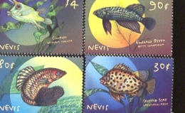 NEVIS   1087-90  MINT NEVER HINGED SET OF STAMPS OF FISH-MARINE LIFE   # S-692-1   ( - Peces