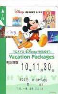 Carte Prépayée Japon * DISNEY  (1213) TOKYO DISNEY RESORT LINE * PREPAID CARD JAPAN * MICKEY MOUSE - Disney