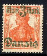 DANZIG 1920 3 Mk. On 7½ Pfg. Lilac Burelage Downwards MNH / **. Michel 44 II - Danzig