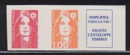 = Marianne De Briat, Dite Du Bicentenaire TVP Rouge + 1.00 + Vignette De Carnet N°8b - Adhesive Stamps