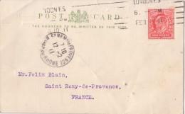 GRANDE BRETAGNE - CARTE PRIVEE T.A. CROMBIE LONDRES - TIMBRE AVEC PERFORATION T.A.C.L - CARTE POUR LA FRANCE - 1902-1951 (Rois)