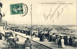 CP, 85, Les Sables D'Olonne, Le Remblai Et La Plage, Voyagé  En 1909 - Sables D'Olonne