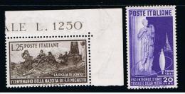 01-1951 - ITALY - ITALIA - ITALIE - B29 - MNH SET OF 2 STAMPS ** - 6. 1946-.. Repubblica