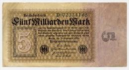 Germania - 5 Miliardi Marchi 10.09.1923 Pick 115 - [ 3] 1918-1933 : Repubblica  Di Weimar
